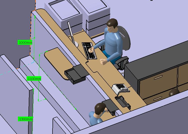 4 CATIA V5 amenagement espace definition de Hauteur tablettes et muret